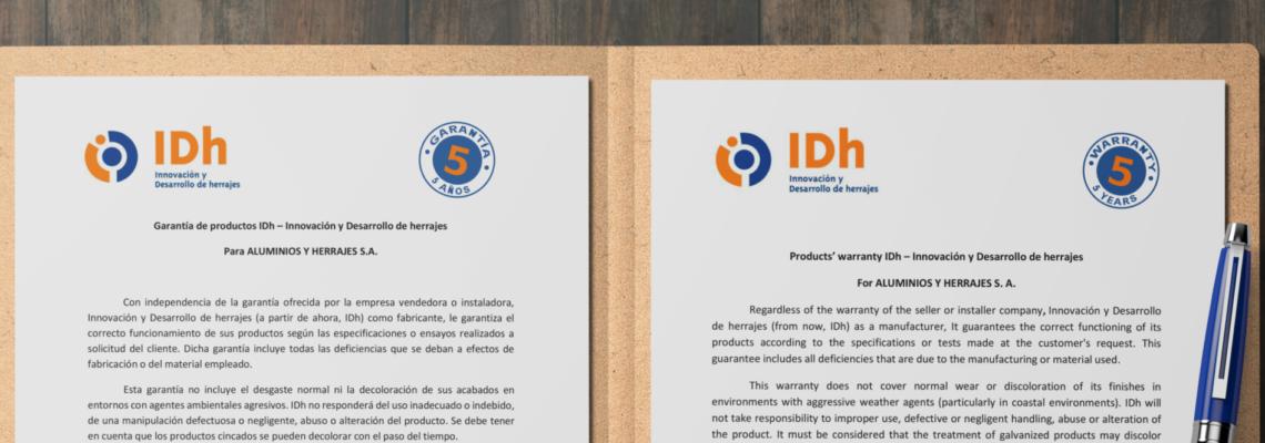 Carta calidad con 5 años garantía IDh