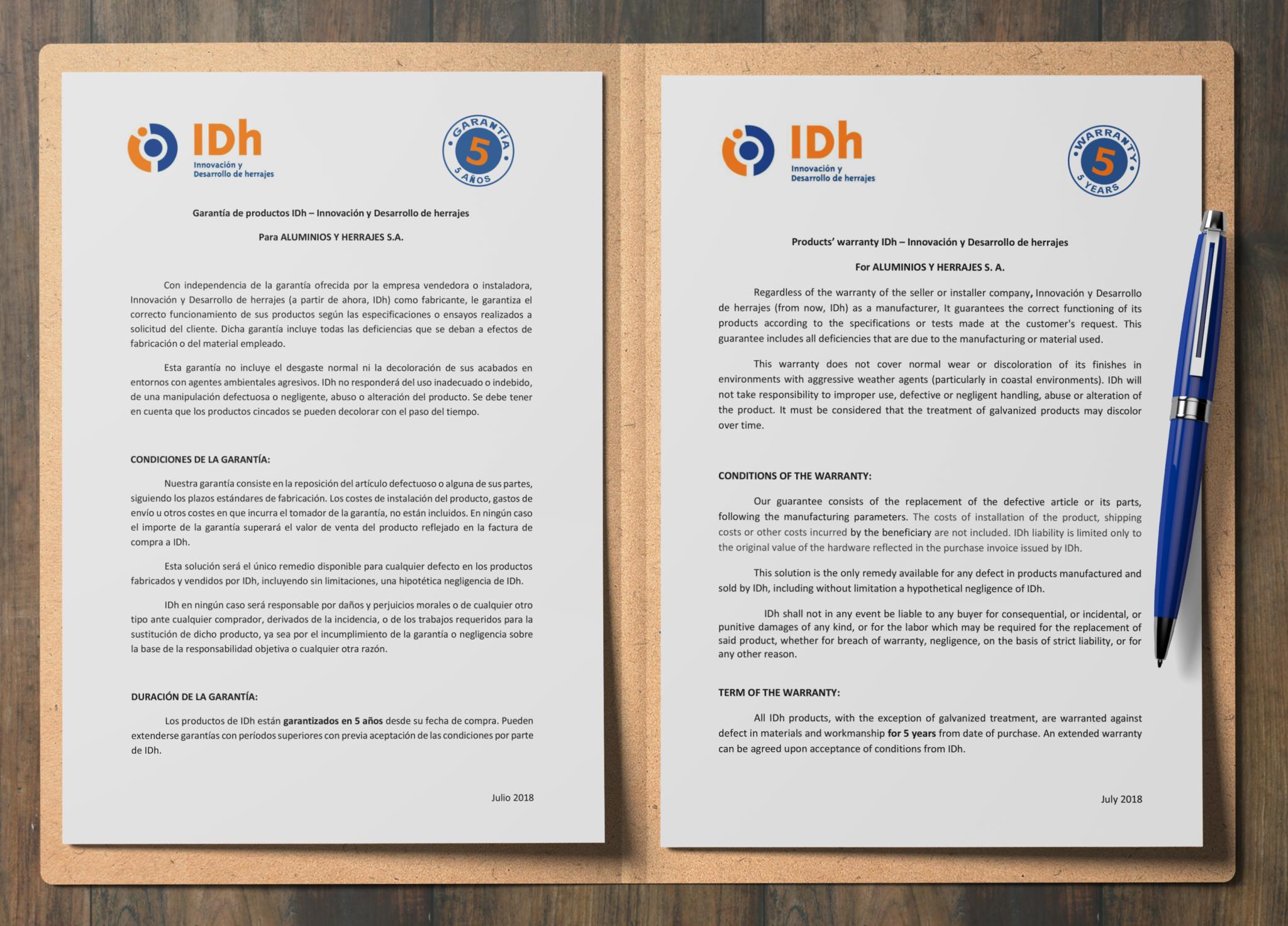 IDh carta calidad 5 años de garantía